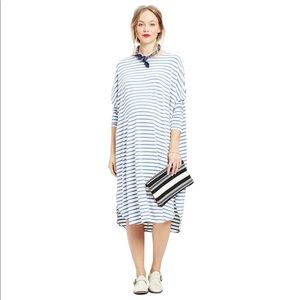 Hatch Maternity The Jersey Drape Dress Chambray Stripe One Size